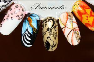 "Nail Art ""Fleur bleue zhostovo"" & Nail Art "" courbes folles d' aquarelles """