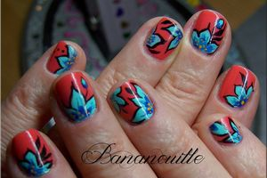 "Nail Art "" Turquoise florale"""