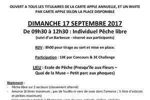 Prochain Concours de Pêche Dimanche 17 Septembre 2017