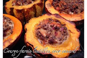 Courge farcie lentilles coco canard