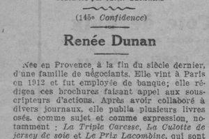 Les 365 confidences contemporaines recueillies par Jean-Bernard : Renée Dunan (1926)