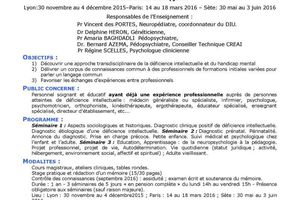 DIU Déficience intellectuelle – Handicap mental...