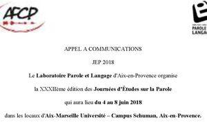 Appel à communications - Journées d'études sur  la Parole 2018 - 4 - 8 juin 2018