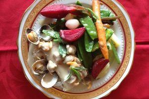 Cabillaud , Coques , Légumes du marché
