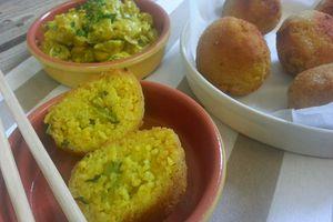 Boulettes de riz basmati panées, coeur de courgettes au curry