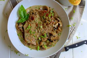 Steak aux champignons et pommes duchesses