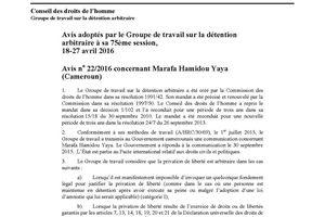 Decision du groupe de travail des nations unis sur la Detention arbitraire demandant la liberation de Marafa Hamidou Yaya