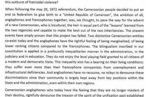 """Revendications des camerounais Anglophones, Marafa Hamidou Yaya declare :"""" les camerounais Anglophones dénoncent à raison la trahison de l'esprit du pacte d'unification établi en 1972..."""""""