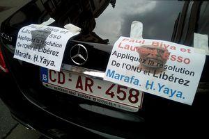 Photo de la manifestation de ASMA pendant la rencontre de Laurent Esso et des Camerounais à Bruxelles.
