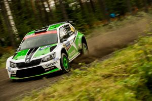 Skoda fabia R5 avec Pontus Tidemand au volant au rallye de Finlande