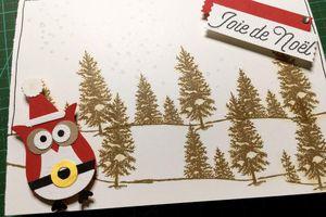 Carte Chouette père Noël