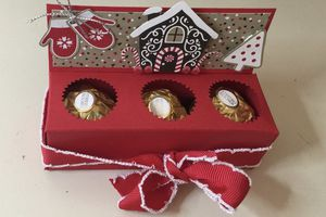 Boite avec 3 rochers Ferrero - pour offrir pour les fêtes de fin d'année - ou mettre sur une table