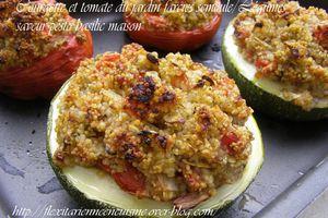 Courgette et tomate du jardin farcies semoule/Légumes, saveur pesto basilic maison