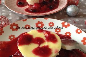 Flan à la ricotta, coulis de fruits rouge