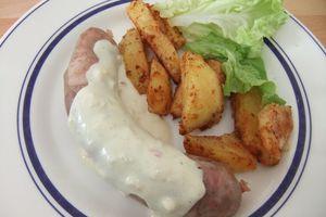 Andouillettes de Troyes sauce moutarde et pommes de terre, en cocottte ultra pro