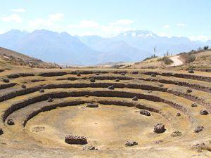 Les ruines de Moray, ancien centre d'expérimentation agricole des Incas