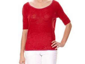Pull lin rouge Kookaï Taille 1 : 40 euros