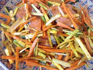 Pavé de saumon en papillote et aux légumes