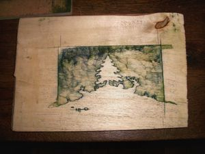 Mes premiers essais de gravure sur bois : la presse, la gravure, une épreuve.