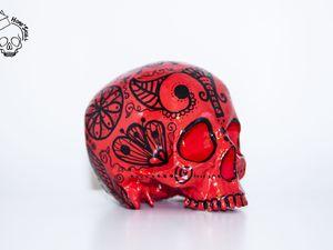 Skull Impression 3D Rouge &amp&#x3B; Noir Graphique N°1