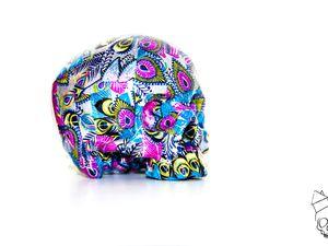 Vanité, Skull, Tête de mort, Calaveras, crâne 3D  Skull Impression 3D Paper Violet bleu Rose