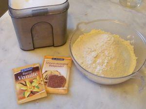 Dans un saladier mettre dans l'ordre la farine,la levure,le sucre en poudre et vanillé..... Casser les oeufs....