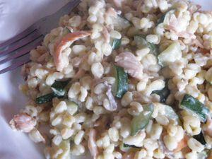 Poêlée de blé courgette &amp&#x3B; saumon