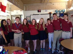 "Here are the HH students (on the ""serious"" picture, from the left to the right): Tejal, Emily, Gray, Lena, Addie, Ryen, Nick, Jake, and Brendan."