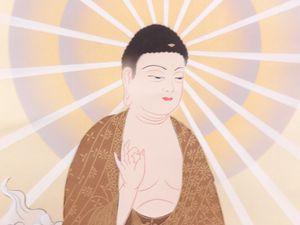 Véritable Kakejiku Japonais (Kakemono) Peint À La Main Sur Soie : &quot&#x3B;Sanzon Butsu (Trois Divinités Bouddhistes)&quot&#x3B;