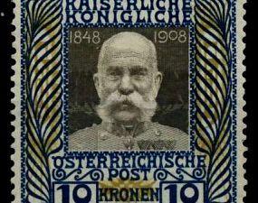 Ce timbre émis en 2016 par la Poste autrichienne reprend l'émission de 1908 (photo de droite) qui célébrait le Jubilé d'or de l'Empereur. Tirage : 250 000 exemplaires