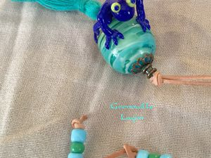 Perles de verre au chalumeau, lampwork glass bead with a frog de Laurent d'Apolito