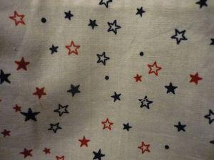 Tissu coton mille étoile et taupe mondial tissu . Tissu, zip bleus et biais rouge de ma mercerie préférée.