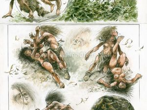 """René Hausman """"Les chasseurs de l'aube"""" (Dupuis - 2003) : 4 planches originales de René Hausman mises en vente par la Galerie Daniel Maghen."""