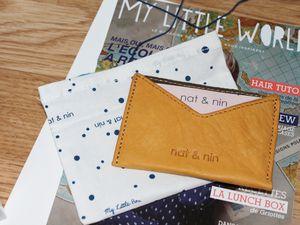Un porte carte en cuir Nat et Nin dans un joli pochon et une jolie carte à l'intérieur avec un code promo que je partage avec vous, parce que je vous aime bien =).