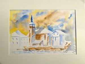 Mes dernières aquarelles dont l'église de Sixt peinte pendant la permanence de l'exposition.