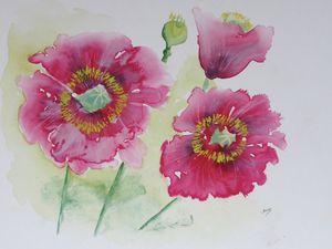 Rose de mon jardin : (20 x 30cm)   et  Pavots de mon jardin  (30 x 40cm)