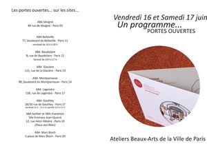Programme très chargé des portes ouvertes des ateliers des Beaux Arts de Paris