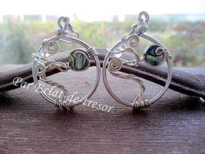 BOUCLES D'OREILLES ARBRE DE VIE, PERLE NACRE - Boucles d'oreilles en aluminium uniques et originales représentant un arbre de vie aux reflets nacres et illuminé par des cristaux d'Autriche transparents. Il semblerait que L'arbre de vie représente la force de la Vie et ses origines.  Convient parfaitement pour faire un cadeau unique. Taille du cercle : 35*40mm. Longueur portée : 6cm. PRIX : 15 EUROS