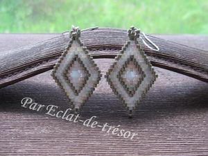 BOUCLES D'OREILLES TISSÉES LOSANGE BLANC AB - Ces boucles d'oreilles aux couleurs apaisantes (étain, blanc effet AB, mélange de couleurs nude) sont composées de fines perles japonaises (qualité supérieure). Elles sont entièrement tissées main à l'aide d'un fil très résistant et décorées d'un coeur en cristal Swarovski (couleur blanc).  Dimension du losange : 3,5*2,1 cm. Longueur : 5,4 cm. Note : Livrées dans leur pochette en organza. PRIX : 15 EUROS