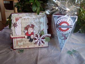 Merci beaucoup Nano, carte, boîte remplie de chocolats, dies, tampon, etc ...et Audrey, carte, cadre, coeur à accrocher et scrapbidules : des merveilles !!!!