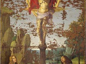 Raphaël Sanzio, Stendardo della Santa Trinità, vers 1499,  Huile sur toile, 167x94 cm, Città di Castello, Pinacoteca communale