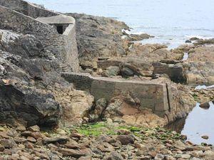 La maison et ses hauts-murs qui entourent les anciens viviers. Les digues protectrices permettaient aussi de débarquer la pêche à marée haute...