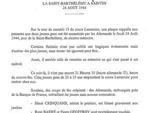 Les victimes et le rescapé..... Pendant ce temps Paris se libérait. (Les hommes en portraits ont été tués cette nuit-là.