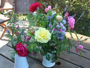 Pour vous faire profiter de mes dernières roses : deux bouquets rapportés à Paris