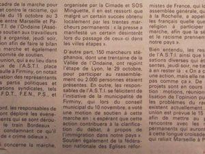"""Document 2. """"Premier bilan de la marche pour l'égalité et contre le racisme - création d'un comité de soutien"""", paru dans Loire-Matin, 19 novembre 1983 (1937W77)"""