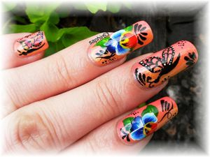 nail art one strocke fleurs et papillons