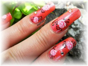 nail art WD rose - kristal box