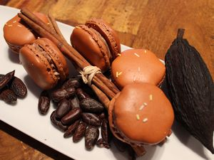 Macarons chocolat / cannelle / fèves tonka