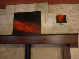peintures de Sophie Hawkes(photos 1 et 2, en haut) et sculptures immatérielles des Baltazars (photos 3 et 4) au jardin des Roses Trémières de Michel Gendarme.