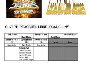 planning Cluny et Salornay du 12 au 23 aout